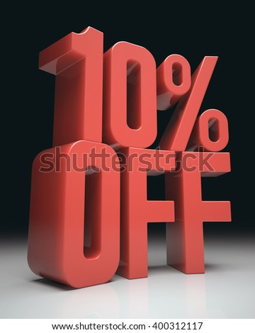 3D image concept. Discount percentage in red on white surface and black background. Clipping path included. - stock photo