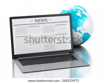 3d image. Earth globe and Modern laptop with news. Internet, Media concept on white background - stock photo