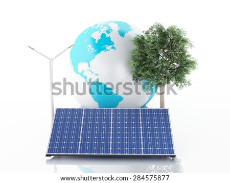 3d image. Earth globe with wind turbines and solar panels, alternative energy. Concept for ecology. Isolated white background - stock photo