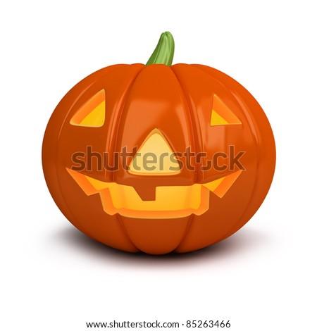 3d image. Festive pumpkin. Halloween. Isolated white background. - stock photo