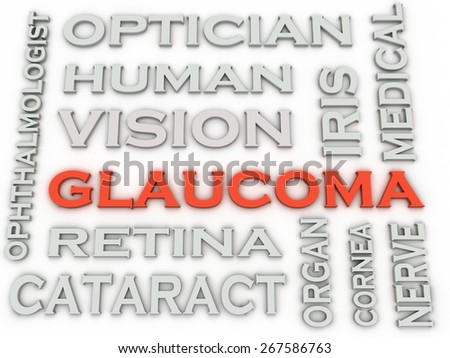 3d image Glaucoma  issues concept word cloud background - stock photo