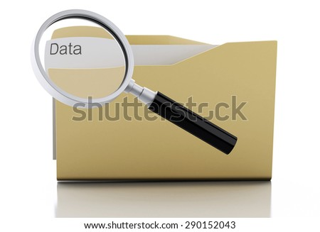 3d image. Magnifying glass examine data in folder. Search Documents Concept. Isolated white background - stock photo