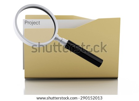 3d image. Magnifying glass examine Project in folder. Search Documents Concept. Isolated white background - stock photo
