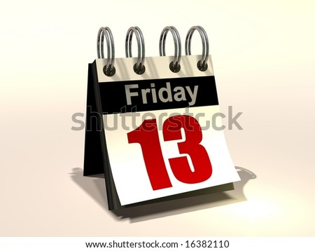 3D image of a flip book calendar Friday the 13th - stock photo