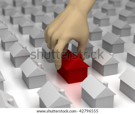 3D image of a hand picking a red house from amongst many others. - stock photo