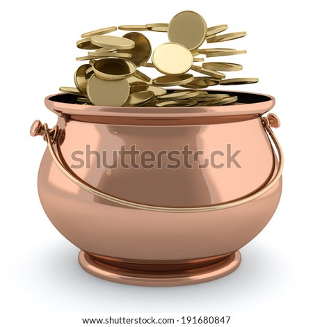 3d image of a pot full of golden coins isolated on white background - stock photo
