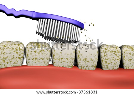3d image of a toothbrush cleaning the dirty teeth - stock photo