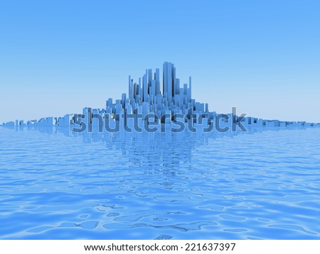 3D image of abstract city on water. - stock photo