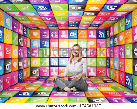 3d image of abstract cubes and icon set with smiling woman - stock photo