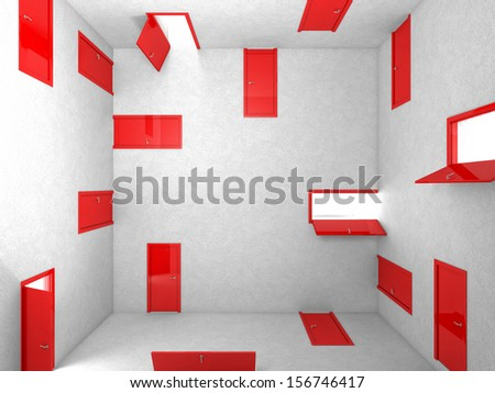 3d image of abstract red doors - stock photo