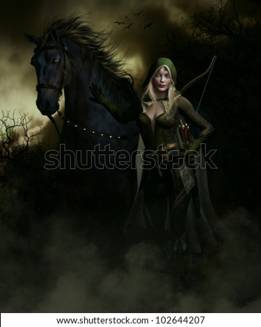 3D image of an female elven archer and Black Stallion taking a break on a long journey through the forest at night. - stock photo