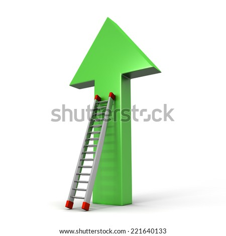 3D image of arrow and ladder on white background. - stock photo