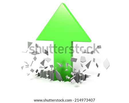 3D image of arrow cracking floor, rising up. - stock photo
