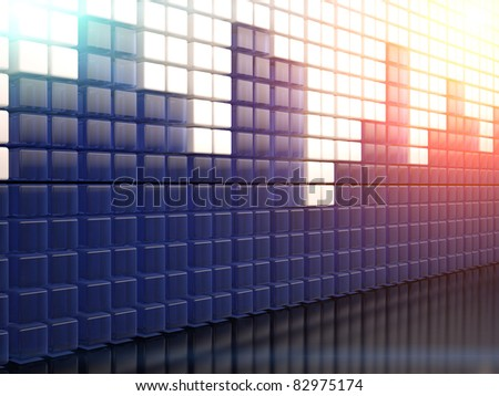 3D image of background with abstract equalizer bar - stock photo