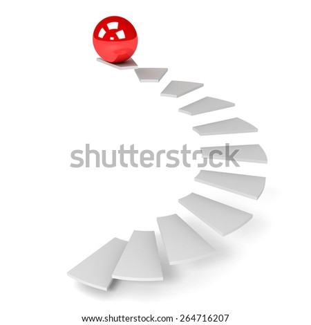 3D image of ball and ladder on white background. - stock photo