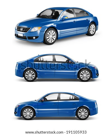 3D Image of Blue Family Car - stock photo