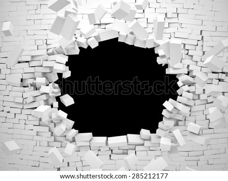 3d image of breaking brick wall  - stock photo