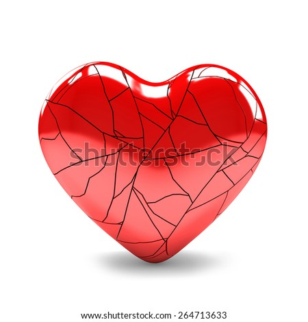 3D image of broken heart on white background - stock photo