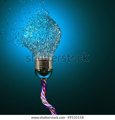 3d image of classic electric bulb explosion background - stock photo