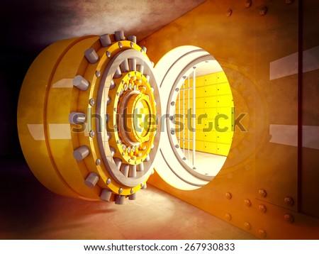 3d image of classic vault door - stock photo