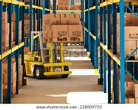 3d image of classic warehouse - stock photo
