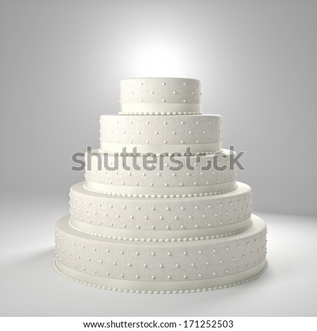 3d image of classic wedding cake - stock photo