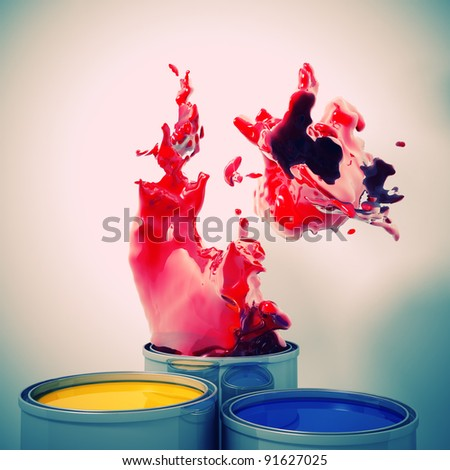 3d image of color metal tank and splash - stock photo