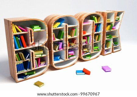 3d image of colorful book in shelve in shape of book word - stock photo