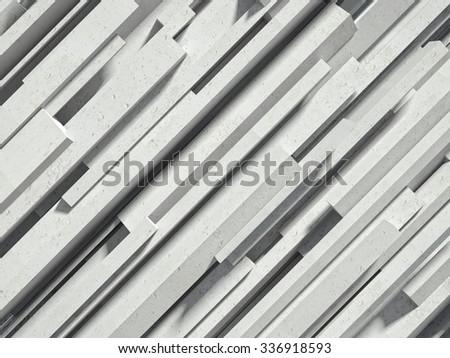 3d image of concrete geometric wall - stock photo