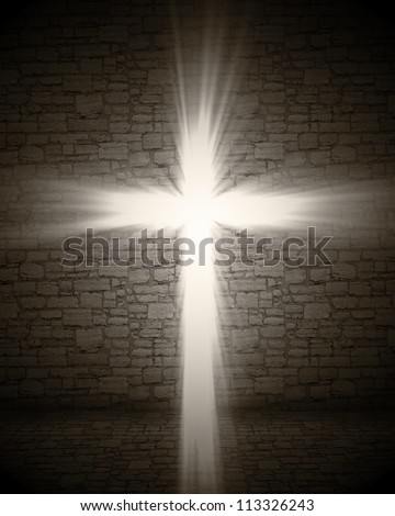 3d image of cross light - stock photo