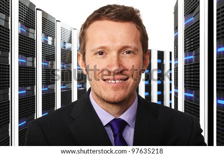 3d image of datacenter and businessman - stock photo