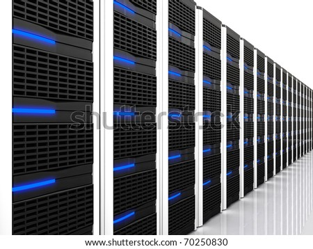 3d image of datacentre with lots of server - stock photo