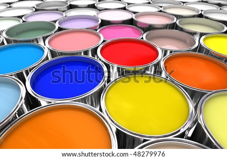 3d image of different color paint ink tank background - stock photo