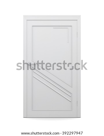 3d image of door isolated on a white background. Closed door. - stock photo