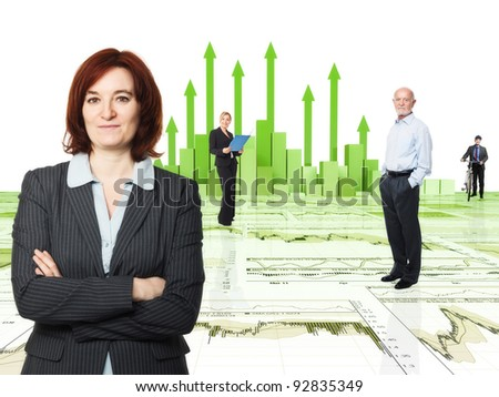 3d image of financial chart and worker - stock photo