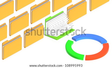 3D image of folsers with chart for use in presentations, manuals, design, etc. - stock photo