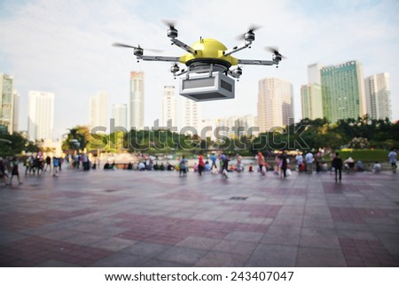 3d image of futuristic delivery drone - stock photo