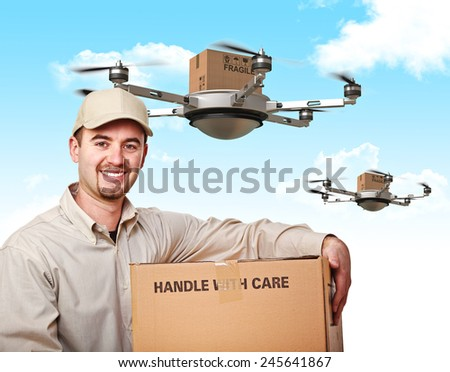 3d image of futuristic delivery drone and worker - stock photo