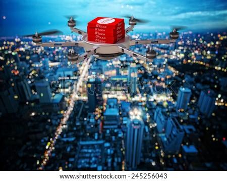 3d image of futuristic pizza delivery drone - stock photo