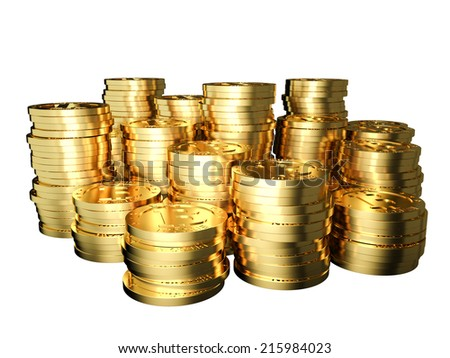 3d image of golden bitcoin on white - stock photo