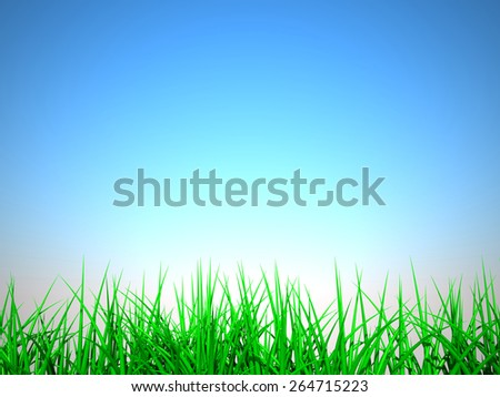 3D image of grass on summer background. - stock photo