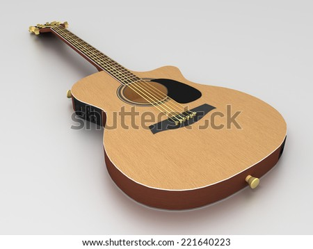 3D image of guitar on grey background. - stock photo