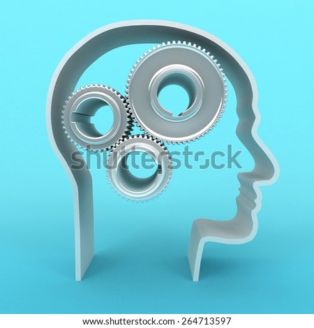 3D image of head with gears on blue background. - stock photo