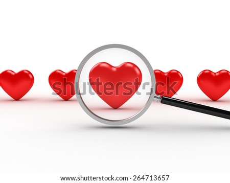 3D image of heart search on white background. - stock photo