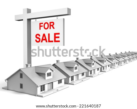 3D image of houses for sale. - stock photo