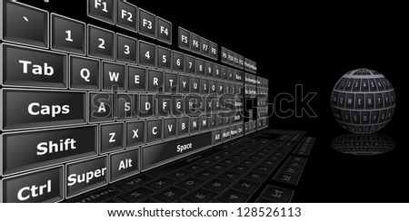 3D Image of keyboard - stock photo