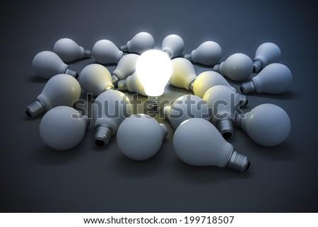 3d image of light bulb, creativity concept - stock photo