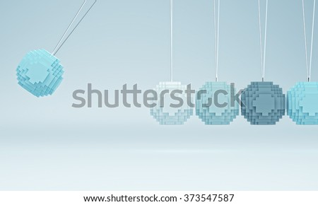 3d image of low poly newton cradle - stock photo