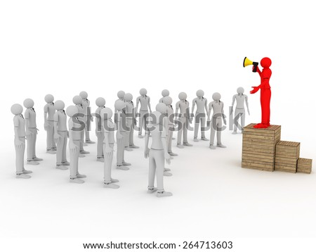 3d image of man with megaphone and crowd on white background. - stock photo