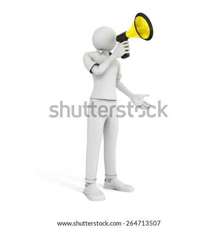 3D image of man with megaphone on white background. - stock photo
